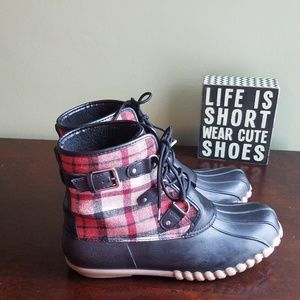 Plaid and Black Lace Up Duck Boots